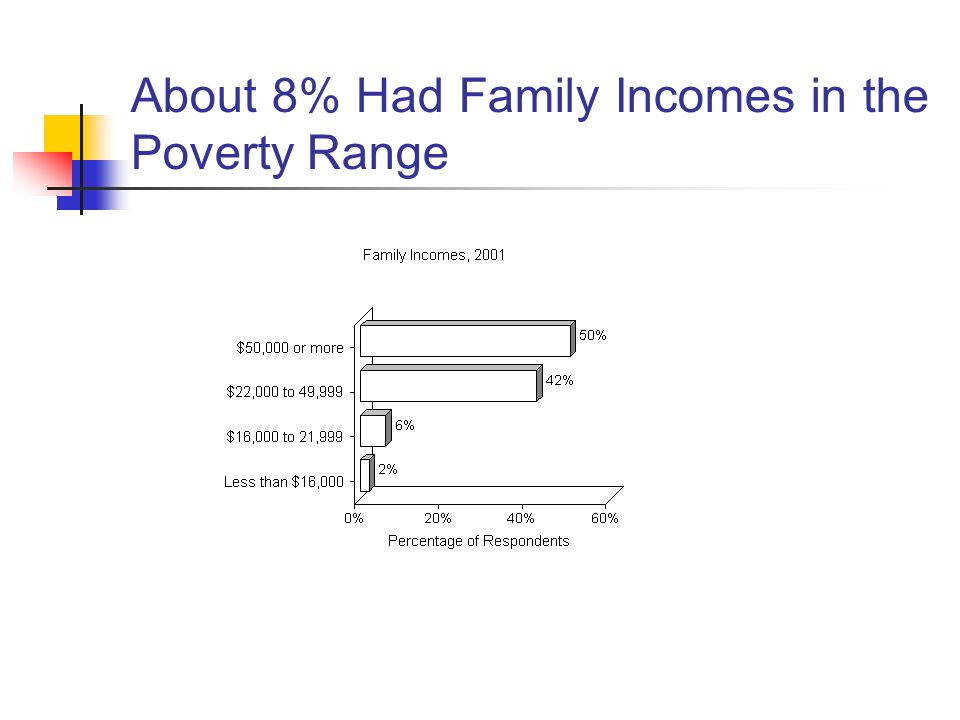 About 8% Had Family Incomes in the Poverty Range