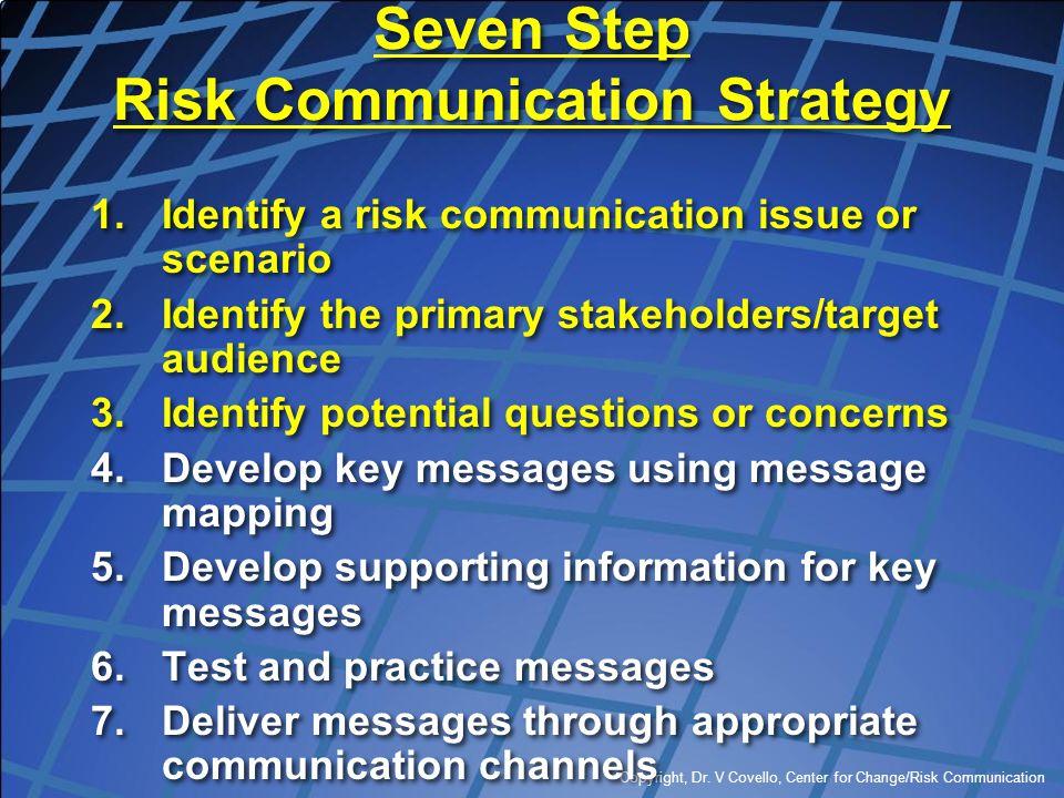 Copyright, Dr. V Covello, Center for Change/Risk Communication Seven Step Risk Communication Strategy 1.Identify a risk communication issue or scenari