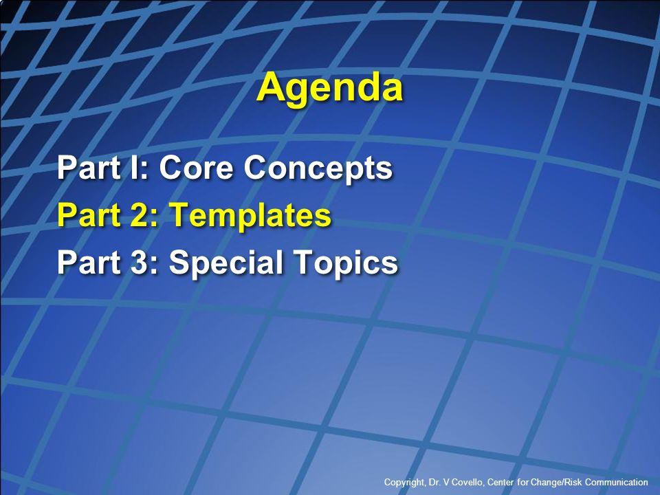 Copyright, Dr. V Covello, Center for Change/Risk Communication Agenda Part I: Core Concepts Part 2: Templates Part 3: Special Topics Part I: Core Conc