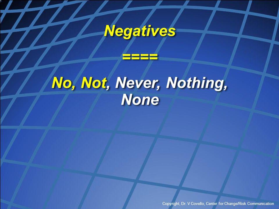 Copyright, Dr. V Covello, Center for Change/Risk Communication Negatives ==== No, Not, Never, Nothing, None Negatives ==== No, Not, Never, Nothing, No
