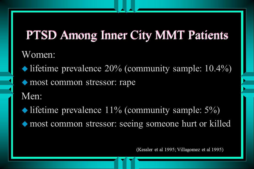 PTSD Among Inner City MMT Patients Women: u lifetime prevalence 20% (community sample: 10.4%) u most common stressor: rape Men: u lifetime prevalence 11% (community sample: 5%) u most common stressor: seeing someone hurt or killed (Kessler et al 1995; Villagomez et al 1995)
