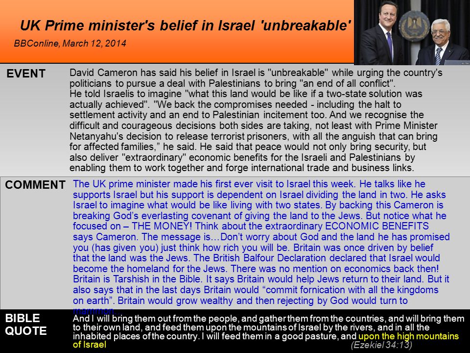 UK Prime minister s belief in Israel unbreakable David Cameron has said his belief in Israel is unbreakable while urging the country s politicians to pursue a deal with Palestinians to bring an end of all conflict .