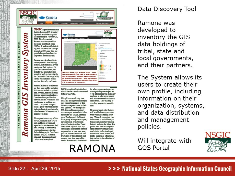 Slide 22 -- April 26, 2015 RAMONA Data Discovery Tool Ramona was developed to inventory the GIS data holdings of tribal, state and local governments,