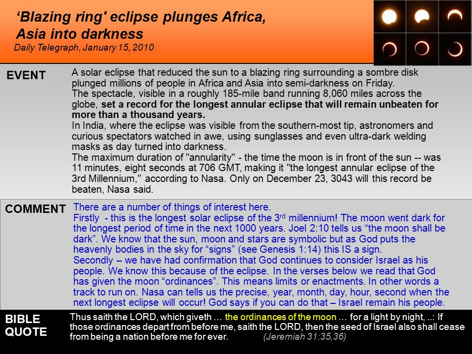 'Blazing ring eclipse plunges Africa, Asia into darkness A solar eclipse that reduced the sun to a blazing ring surrounding a sombre disk plunged millions of people in Africa and Asia into semi-darkness on Friday.