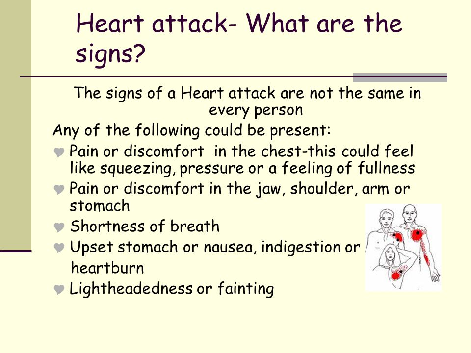Heart Attack-What to do If you or someone with you has these symptoms- getting help is very important.