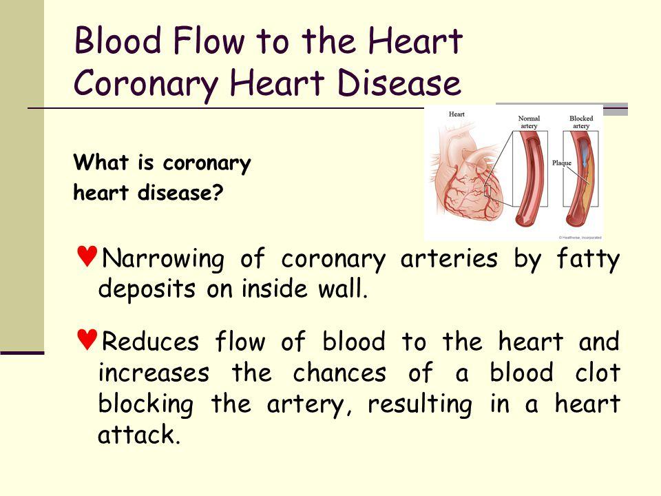 Blood Flow to the Heart Coronary Heart Disease What is coronary heart disease.
