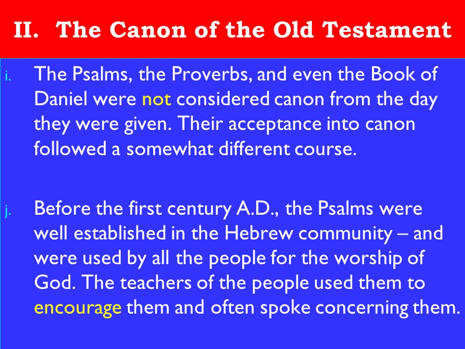 14 II.The Canon of the Old Testament i.