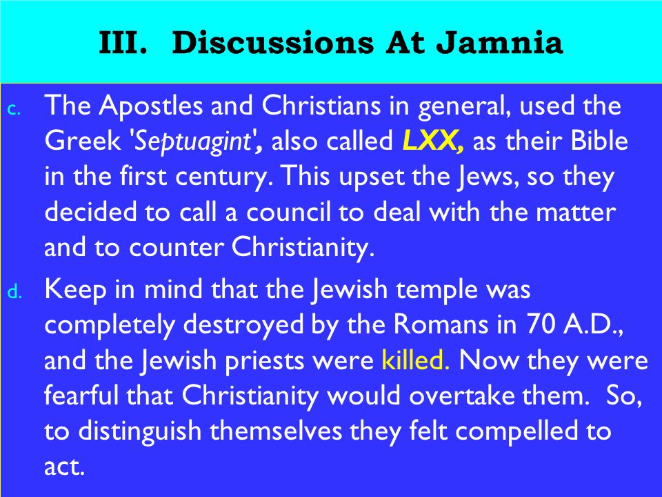 18 III.Discussions At Jamnia c.