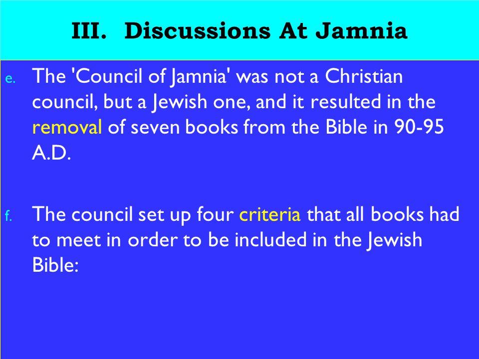 19 III. Discussions At Jamnia e.
