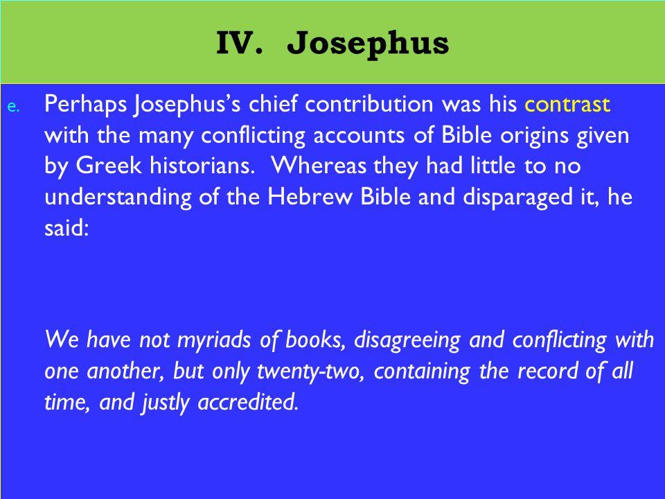 25 IV. Josephus e.