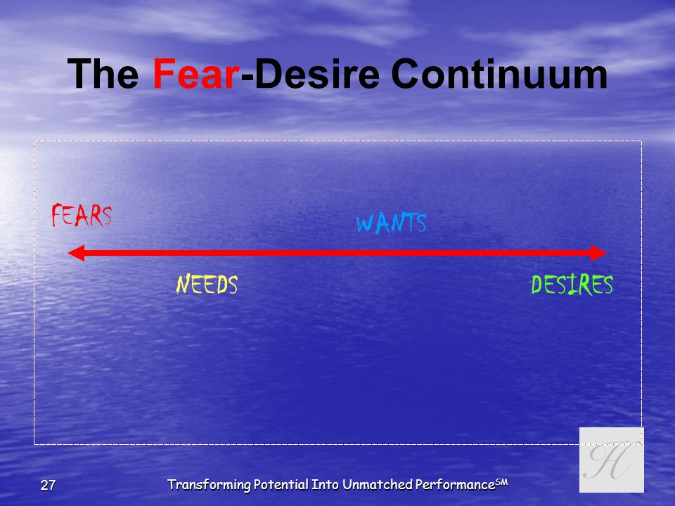 Transforming Potential Into Unmatched Performance SM 26 Truth or Consequences Q: Why FEAR and Not Desire.