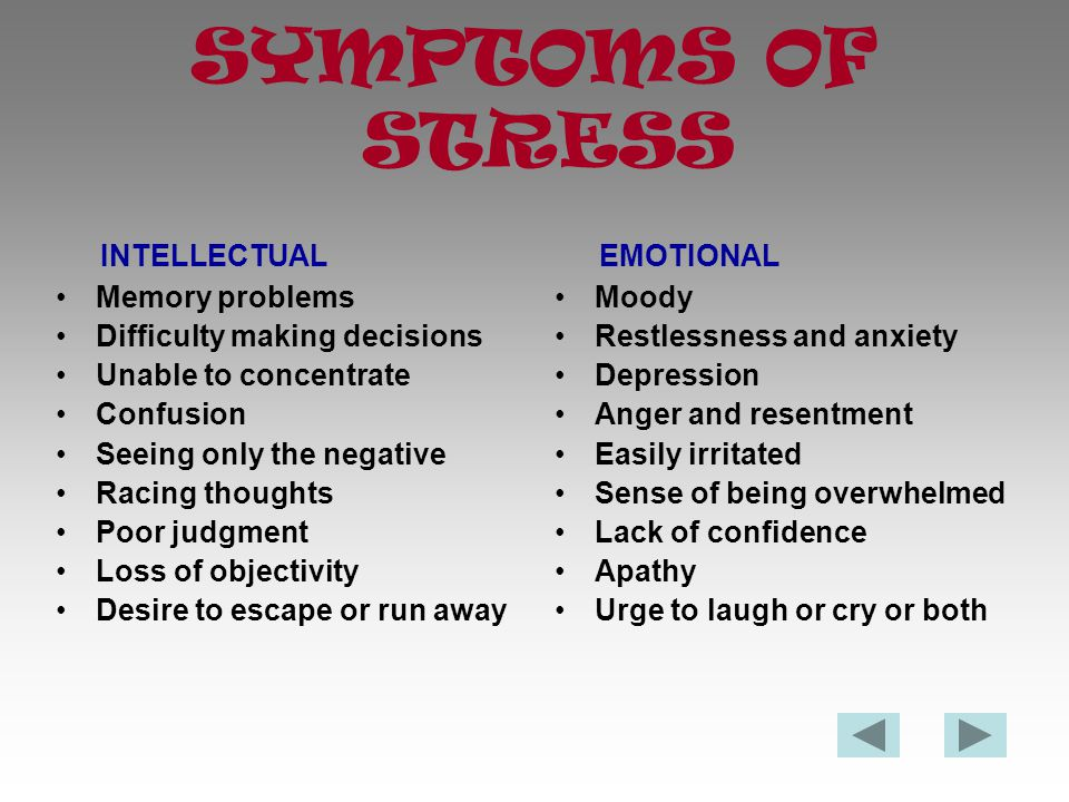 CAUSES OF STRESS Think about what causes you stress.