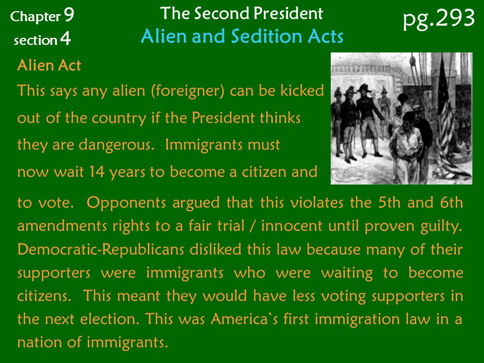 Alien Act This says any alien (foreigner) can be kicked out of the country if the President thinks they are dangerous. Immigrants must now wait 14 yea