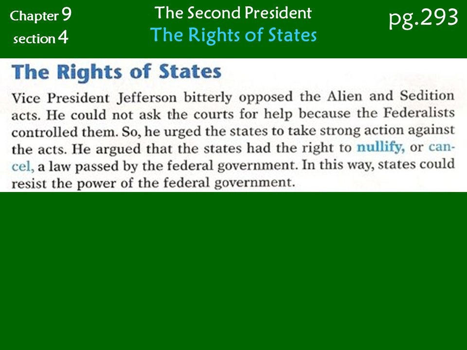 Chapter 9 section 4 pg.293 The Second President The Rights of States