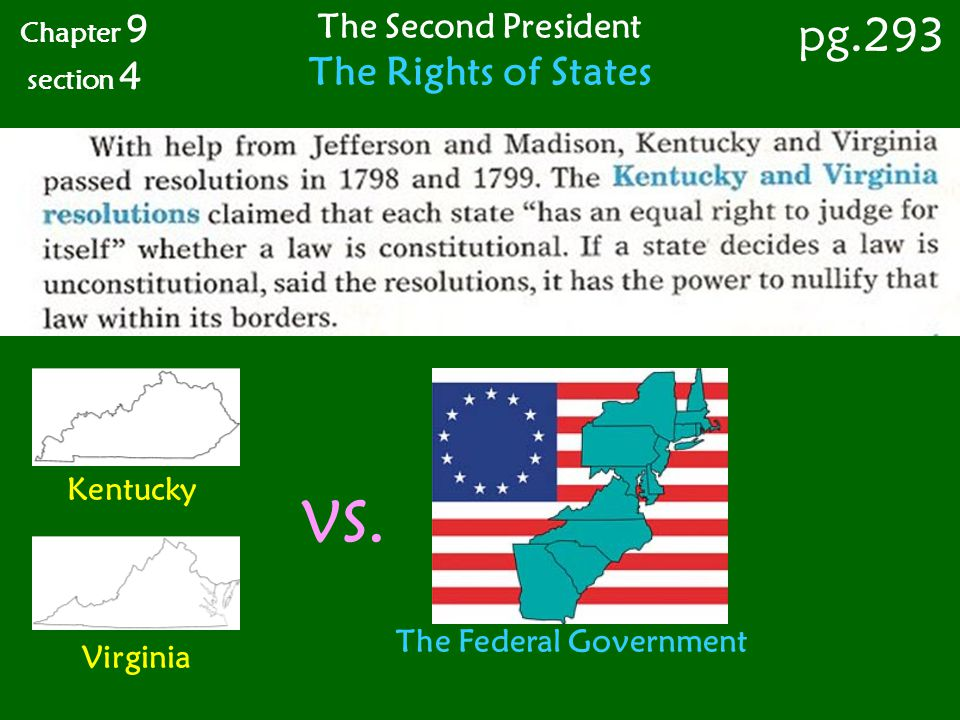 Chapter 9 section 4 pg.293 The Second President The Rights of States Kentucky Virginia VS. The Federal Government