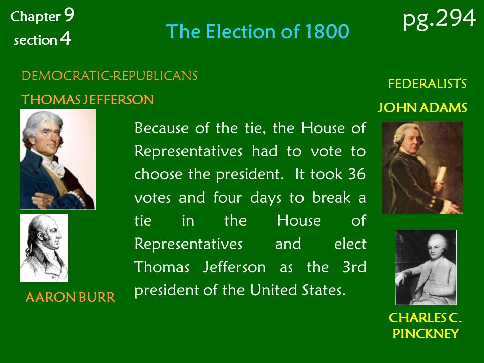 The Election of 1800 DEMOCRATIC-REPUBLICANS THOMAS JEFFERSON AARON BURR FEDERALISTS JOHN ADAMS CHARLES C. PINCKNEY Because of the tie, the House of Re