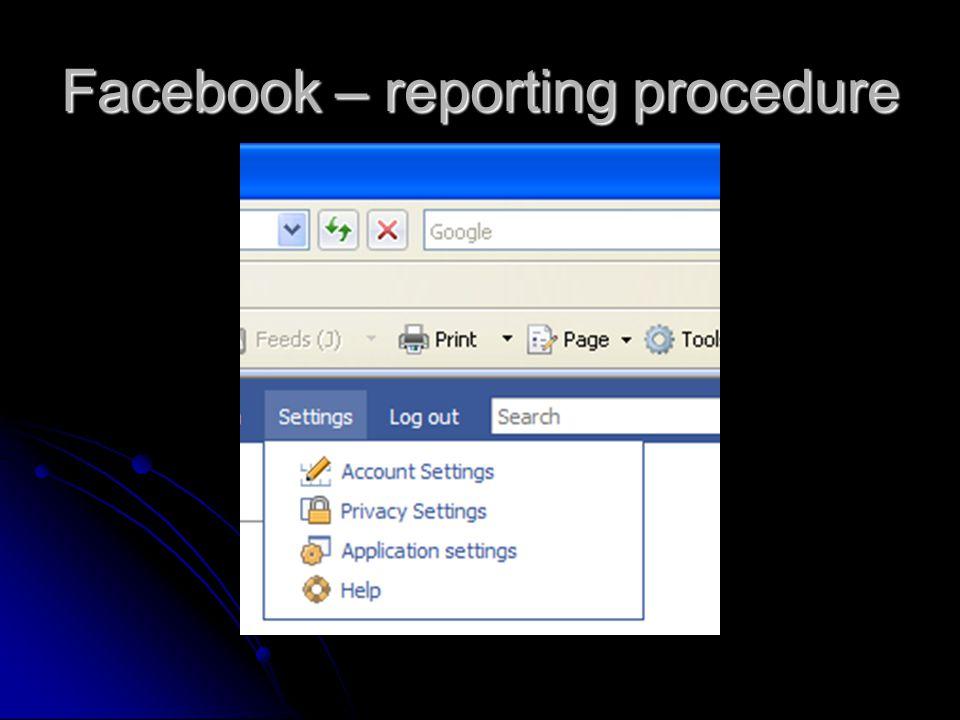 Facebook – reporting procedure
