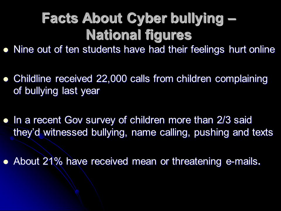 Facts About Cyber bullying – National figures Nine out of ten students have had their feelings hurt online Nine out of ten students have had their feelings hurt online Childline received 22,000 calls from children complaining of bullying last year Childline received 22,000 calls from children complaining of bullying last year In a recent Gov survey of children more than 2/3 said they'd witnessed bullying, name calling, pushing and texts In a recent Gov survey of children more than 2/3 said they'd witnessed bullying, name calling, pushing and texts About 21% have received mean or threatening e-mails.