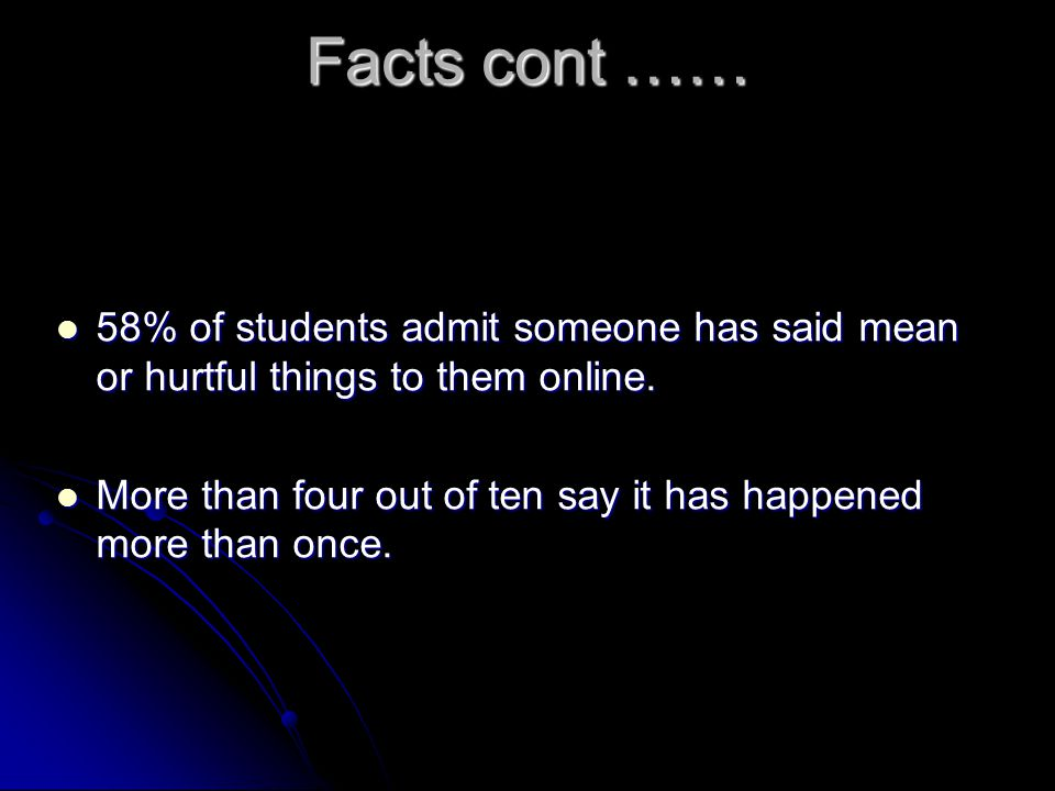 Facts cont …… 58% of students admit someone has said mean or hurtful things to them online.