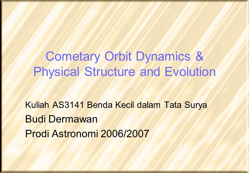 Density and porosity Ice density: 1 g/cm 3 Dust density: 2 g/cm 3 Hence, compact density of 50/50 ice/dust mixture: 1.5 g/cm 3 Observed densities of 0.3-0.5 g/cm 3 imply porosities of 70-80 %