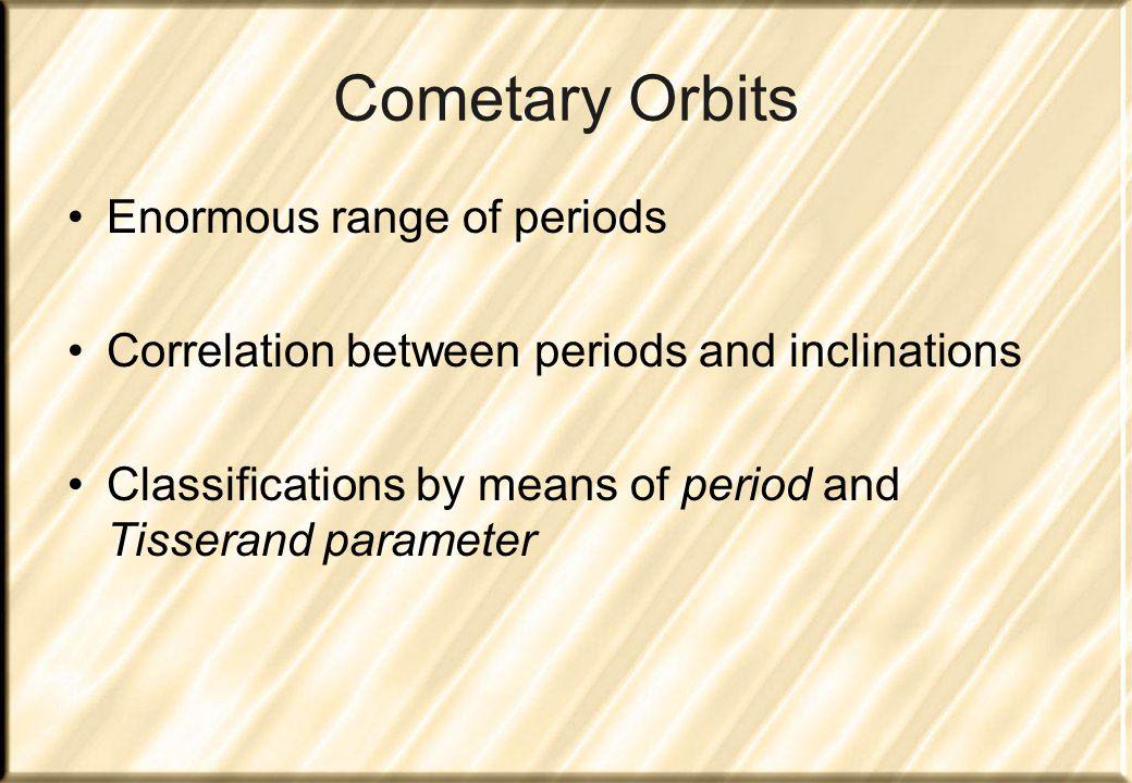 Orbital parameters Orbital energy z = 1/a Period P = a 3/2 Perihelion distance q = a(1-e) Inclination i Tisserand parameter