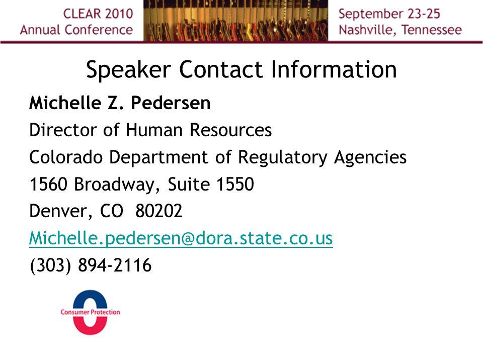 Speaker Contact Information Michelle Z.
