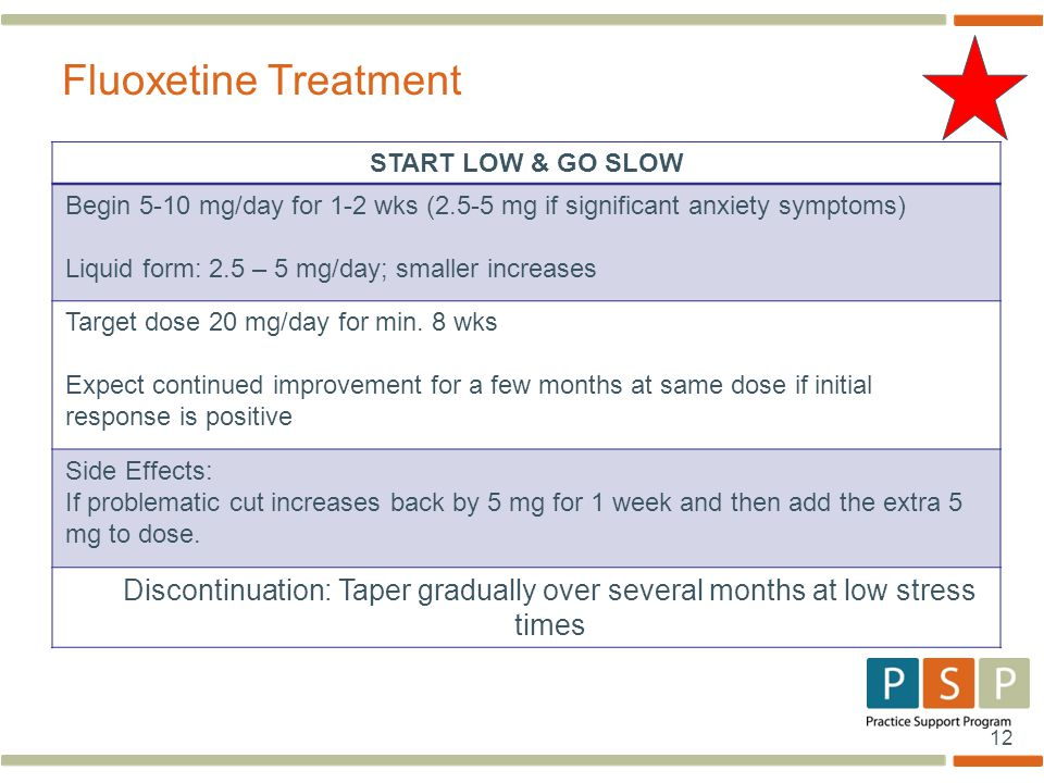 12 START LOW & GO SLOW Begin 5-10 mg/day for 1-2 wks (2.5-5 mg if significant anxiety symptoms) Liquid form: 2.5 – 5 mg/day; smaller increases Target dose 20 mg/day for min.