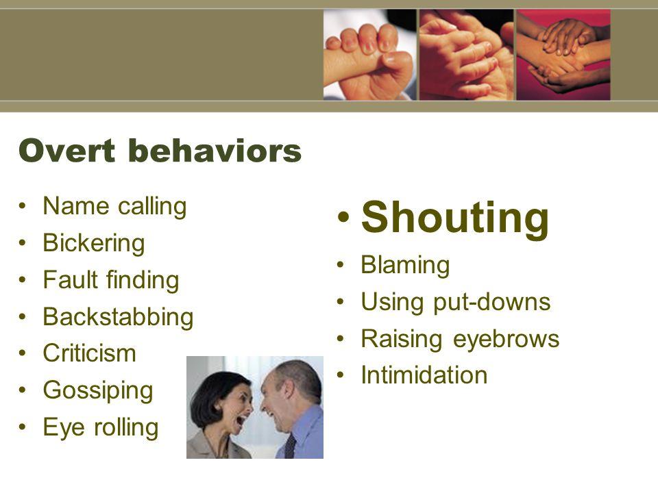Overt behaviors Name calling Bickering Fault finding Backstabbing Criticism Gossiping Eye rolling Shouting Blaming Using put-downs Raising eyebrows In