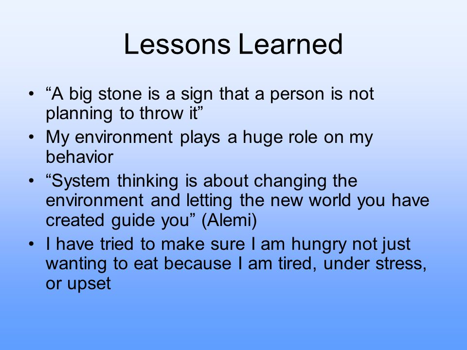 Lessons Learned A big stone is a sign that a person is not planning to throw it My environment plays a huge role on my behavior System thinking is about changing the environment and letting the new world you have created guide you (Alemi) I have tried to make sure I am hungry not just wanting to eat because I am tired, under stress, or upset