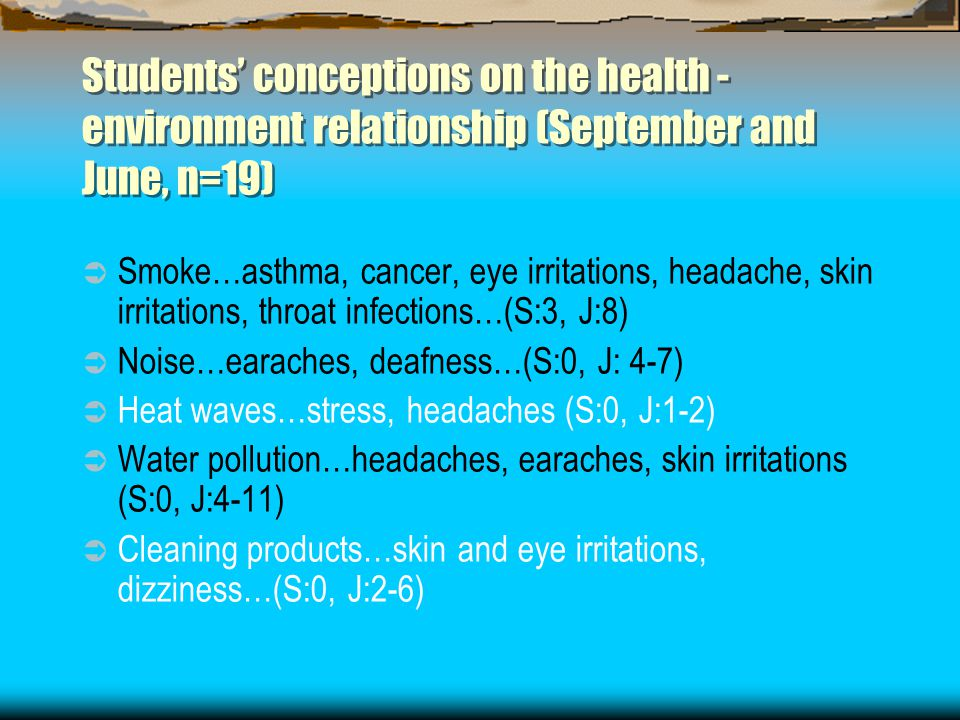 Students' conceptions on the health - environment relationship (September and June, n=19)  Smoke…asthma, cancer, eye irritations, headache, skin irri