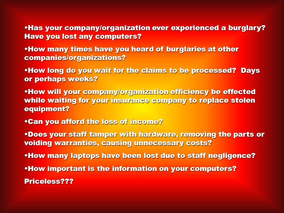 Has your company/organization ever experienced a burglary.