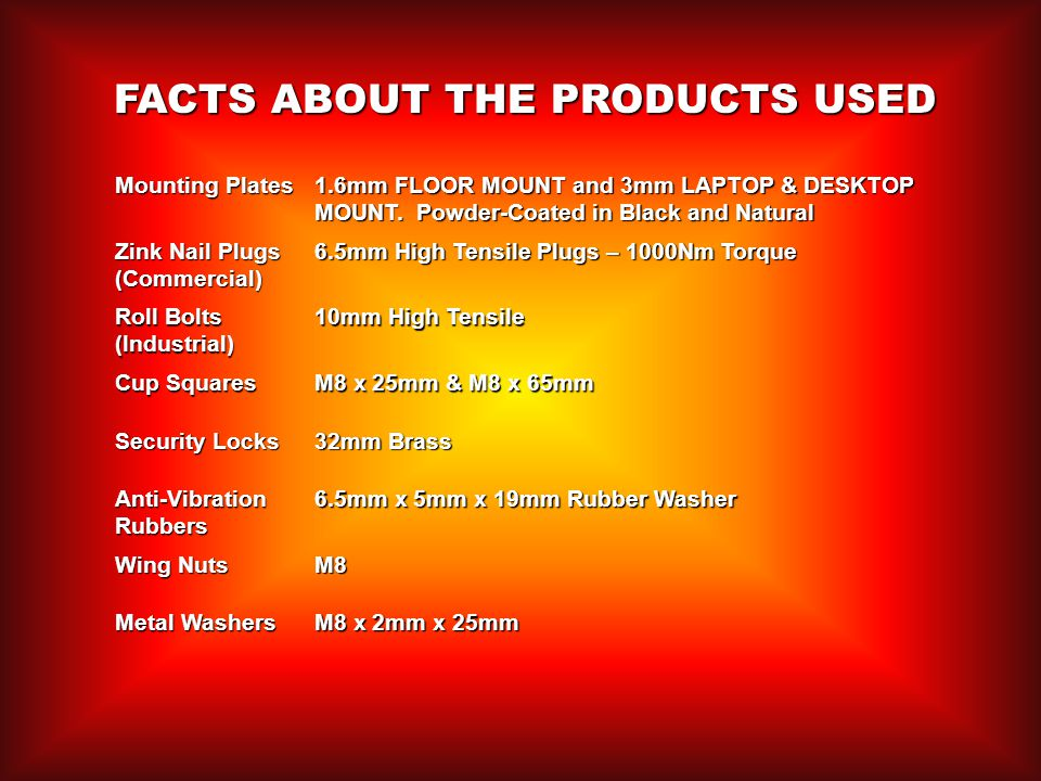 FACTS ABOUT THE PRODUCTS USED Mounting Plates 1.6mm FLOOR MOUNT and 3mm LAPTOP & DESKTOP MOUNT.