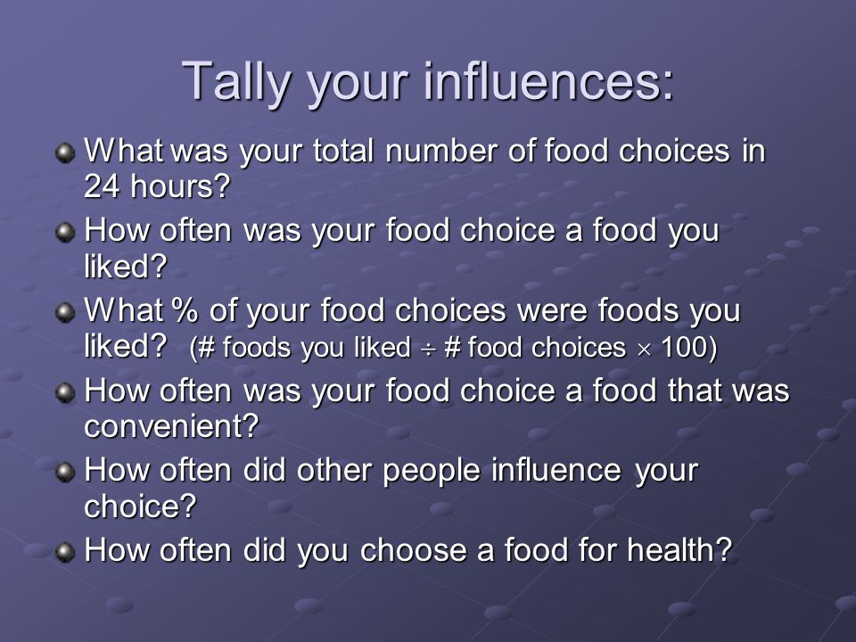 Tally your influences: What was your total number of food choices in 24 hours.