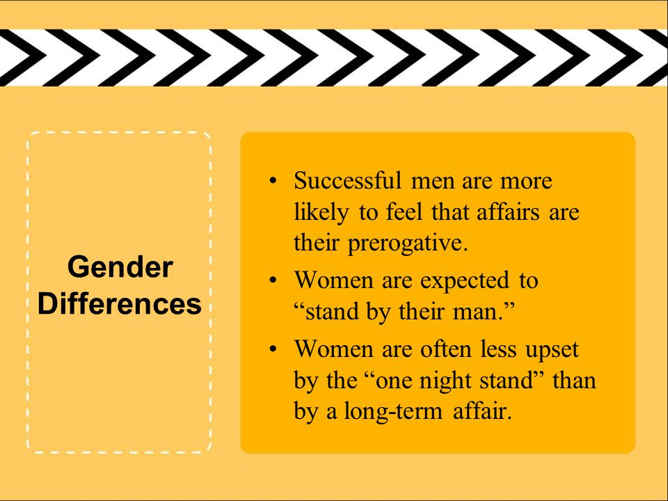 Gender Differences Successful men are more likely to feel that affairs are their prerogative.
