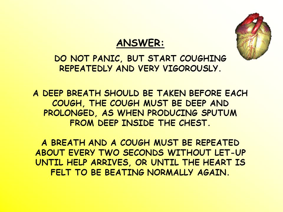 ANSWER: DO NOT PANIC, BUT START COUGHING REPEATEDLY AND VERY VIGOROUSLY.