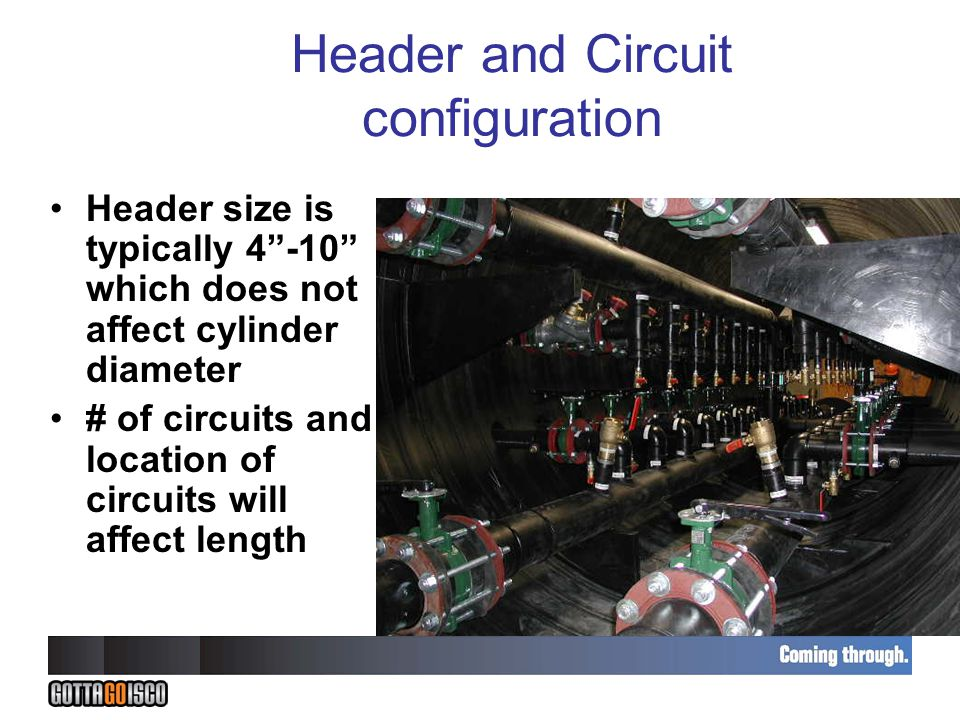 Header and Circuit configuration Header size is typically 4 -10 which does not affect cylinder diameter # of circuits and location of circuits will affect length