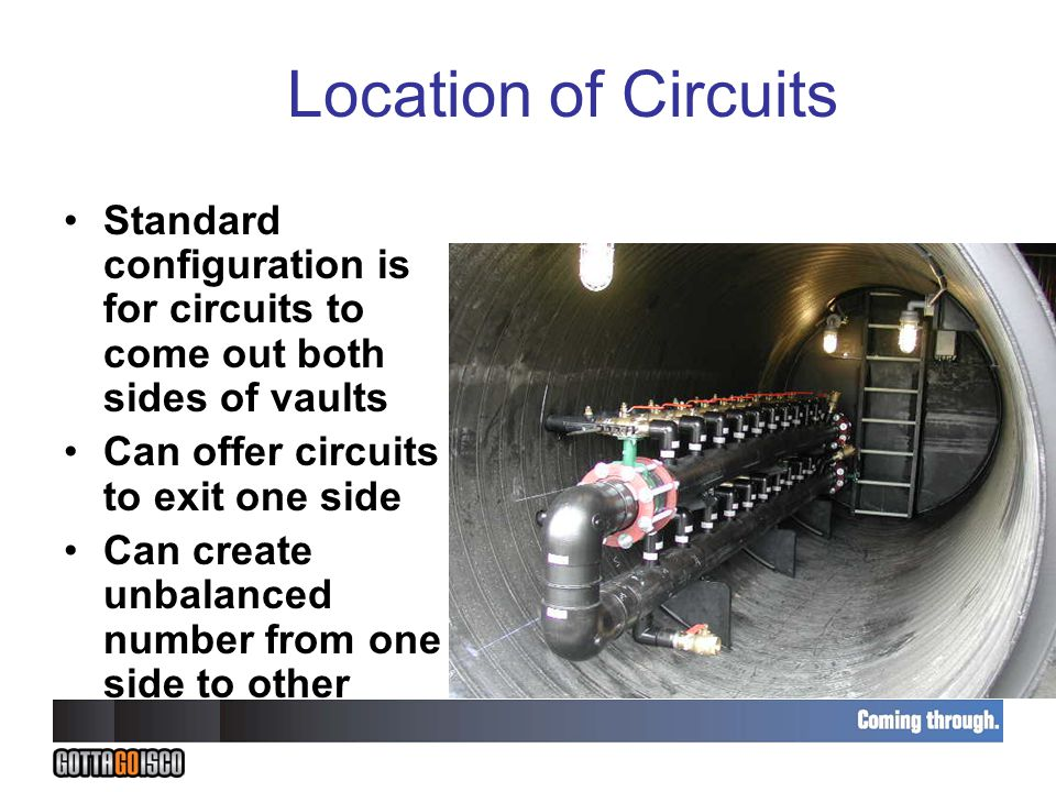 Location of Circuits Standard configuration is for circuits to come out both sides of vaults Can offer circuits to exit one side Can create unbalanced number from one side to other