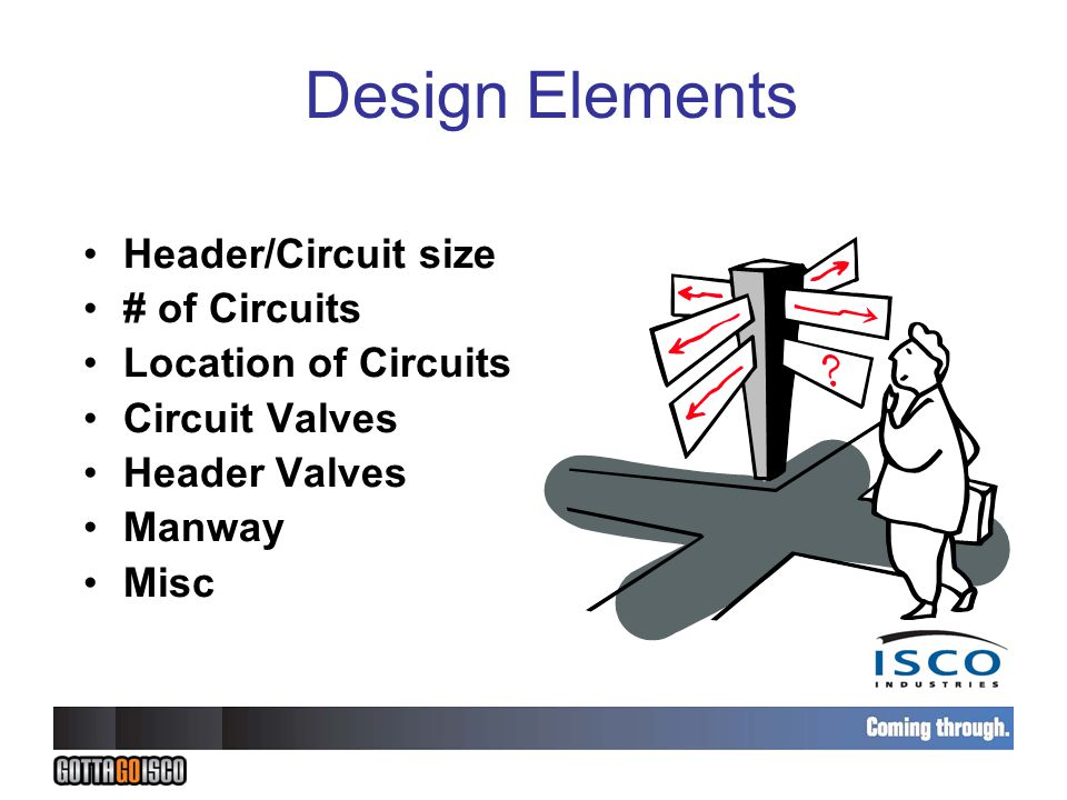 Design Elements Header/Circuit size # of Circuits Location of Circuits Circuit Valves Header Valves Manway Misc