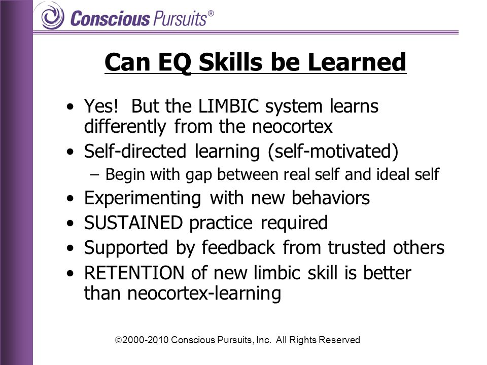  2000-2010 Conscious Pursuits, Inc.All Rights Reserved Can EQ Skills be Learned Yes.