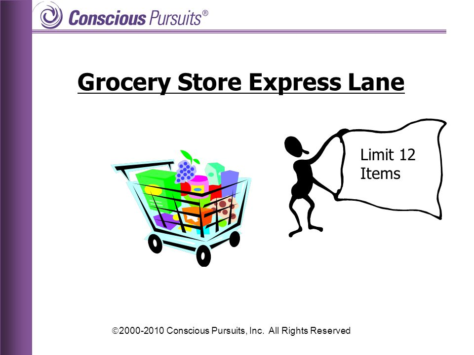  2000-2010 Conscious Pursuits, Inc. All Rights Reserved Grocery Store Express Lane Limit 12 Items
