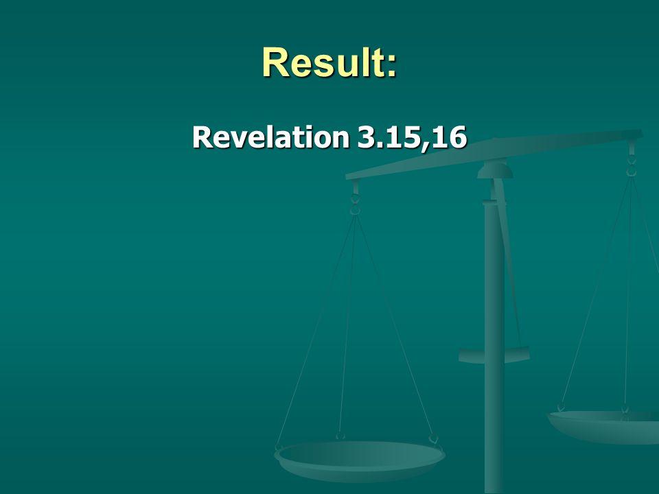 Result: Revelation 3.15,16