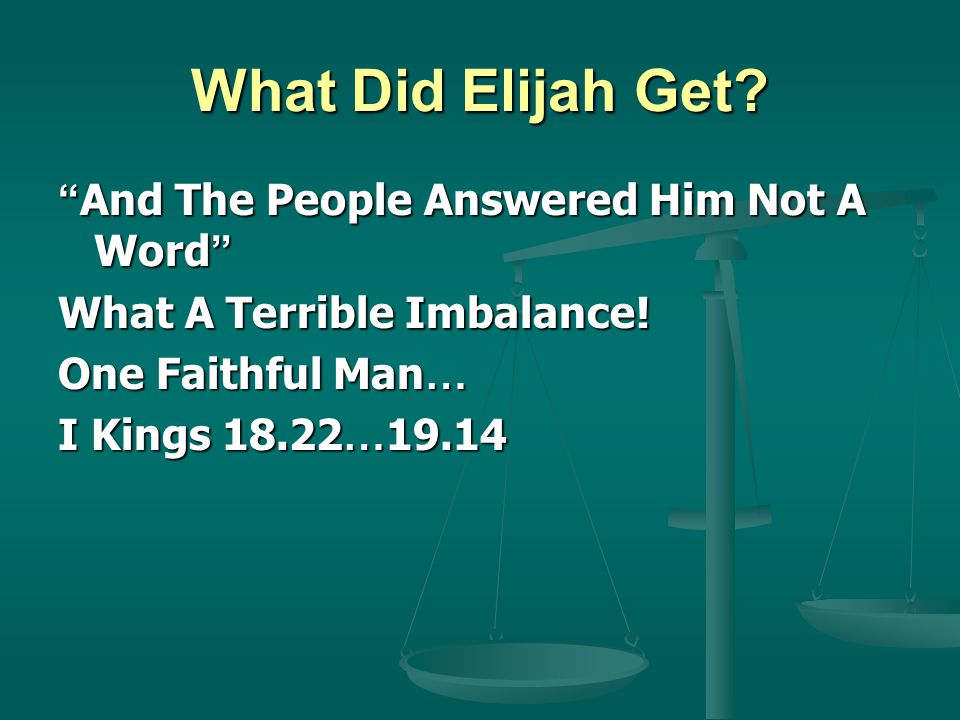 What Did Elijah Get. And The People Answered Him Not A Word What A Terrible Imbalance.