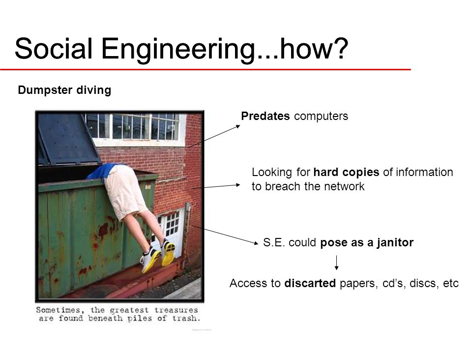Dumpster diving Predates computers Looking for hard copies of information to breach the network S.E.