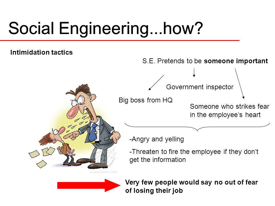 Social Engineering...how. Intimidation tactics S.E.