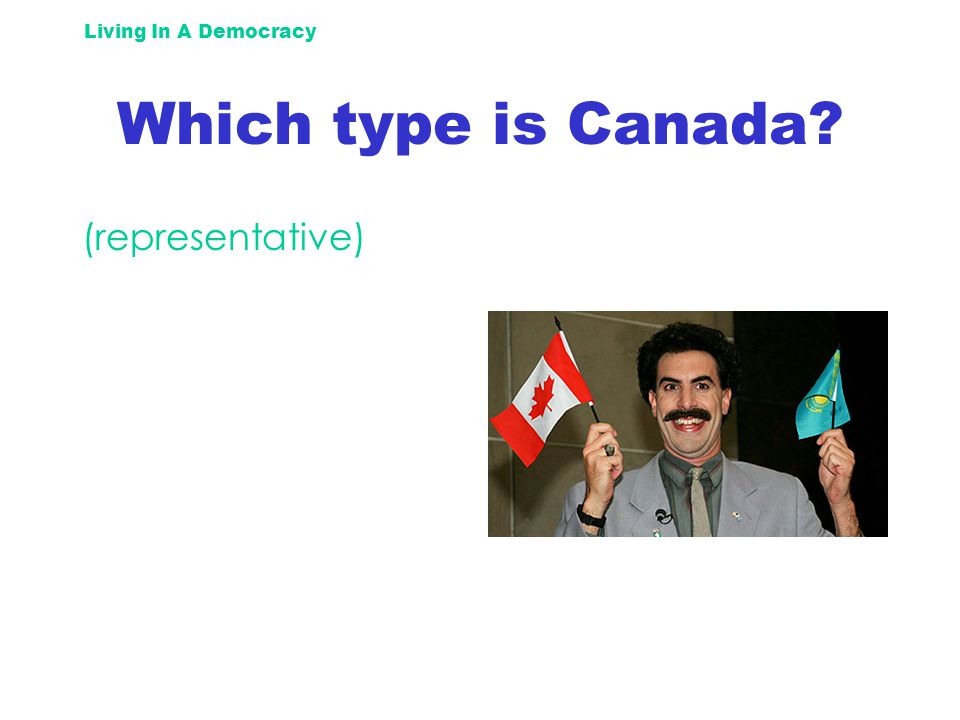 Living In A Democracy Which type is Canada (representative)