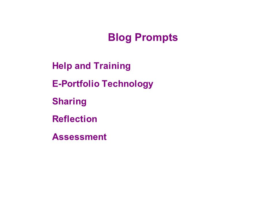 Blog Prompts Help and Training E-Portfolio Technology Sharing Reflection Assessment