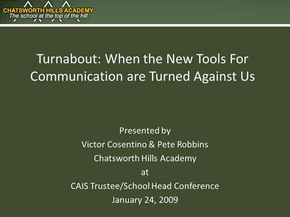 Presentation: 1.The Turnabout 2. Our Response 3. Lessons & Observations 4.