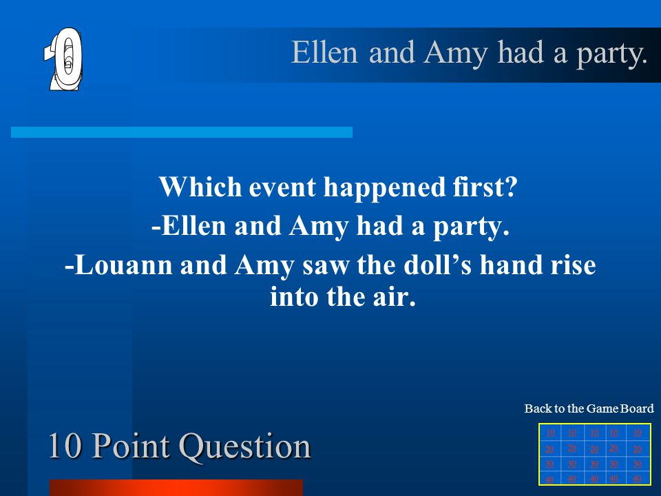 40 Point Question Where did Amy and Ellen go to find out about Amy's great-grandparents' deaths? The Library Back to the Game Board