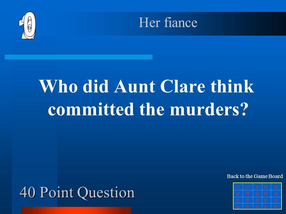 Why did Amy decide to stay with Aunt Clare? 30 Point Question She was mad at her mom and Louann. Back to the Game Board