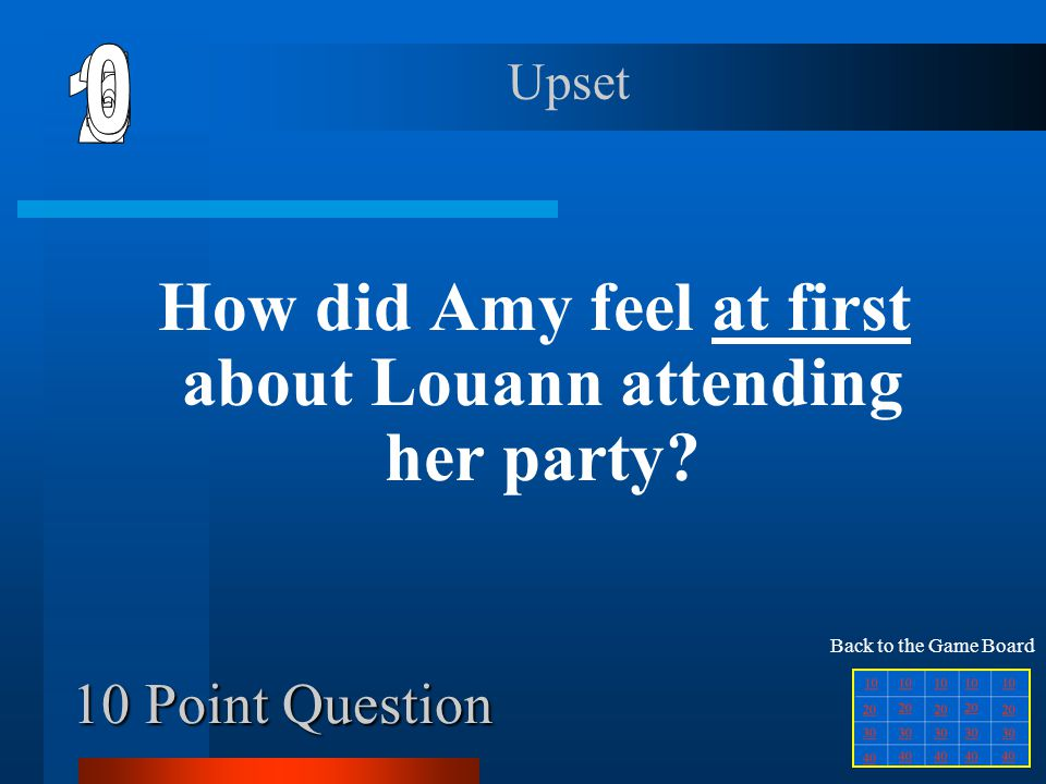 10 Point Question How did Amy feel at first about Louann attending her party.